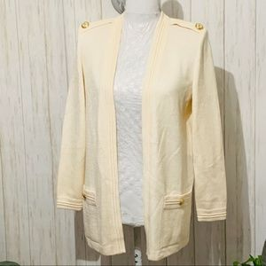 ST. John Ivory Knit Open Front Cardigan